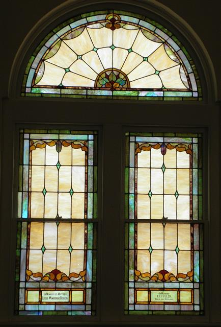 Stained glass window at Wendell UMC